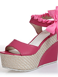 Women's Shoes Leatherette Wedge Heel Wedges Sandals Casual Blue / Red