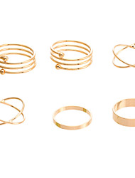 Women's Unique Ring Set Punk Gold Plated Alloy Rings Finger Ring 6 PCS Ring Set Best Selling