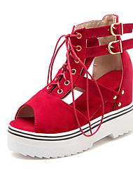Women's Shoes Fleece Summer Wedges Casual Wedge Heel Lace-up / Others Black / Blue / Red / Beige