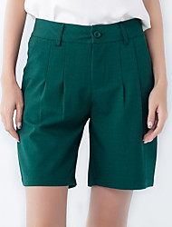 Women's Solid Black / Gray / Green Shorts / Wide Leg Pants,Casual / Day High Waist Slim Thin Polyester/Spandex