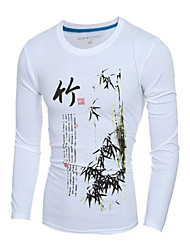 Men's Fashion National Bamboo Printed Slim Fit Long-Sleeve T-Shirt, Cotton /Polyester