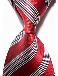 New Striped White Red JACQUARD WOVEN Men's Tie Necktie #3013