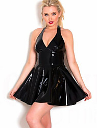 Women Halter PVC Leather Dress Plus S M L XL XXL Size