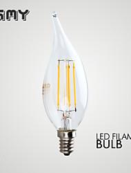 3W E12 Ampoules Bougies LED B 4 COB ≥350 lm Blanc Chaud Gradable / Décorative AC 110-130 V 1 pièce