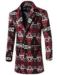 Men's Long Sleeve Long Trench coat,Wool Print