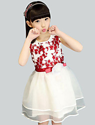 Girl's Black / Red Dress Polyester Summer