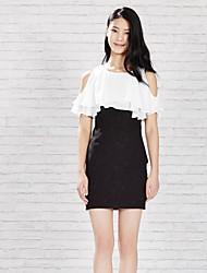 Meters/bonwe Women's Round Neck Sleeveless Knee-length Dress-233943