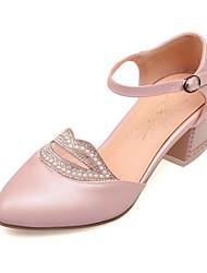 Chaussures Femme-Habillé / Décontracté / Soirée & Evénement-Bleu / Rose / Blanc-Gros Talon-Talons / Bout Pointu-Talons-Similicuir