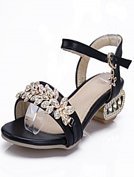 Women's Shoes Leatherette Chunky Heel Peep Toe Sandals Outdoor / Office & Career / Casual Black / Silver / Gold