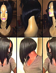 Fashion Bob Straight 12inch Brazilian Human Hair Natural Color Lace Front Wig