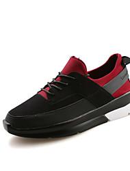 Masculino-Tênis-Conforto-Rasteiro-Preto Preto e Vermelho Preto e Branco-Couro-Ar-Livre Casual Para Esporte