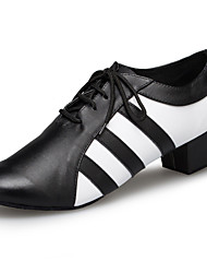 Customizable Men's Ballroom Latin Dance Shoes Jazz / Modern / Swing Shoes / Salsa / Samba  Low Heel Black White