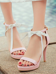 Women's Shoes Leatherette Summer Heels Office & Career / Dress / Party & Evening Stiletto Heel Bowknot / Buckle Pink / White
