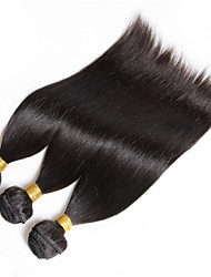 "3Pcs /Lot 150g 8""-26"" Virgin Peruvian Straight Hair Wefts Natural Color 1B# Human Hair Weave Bundles"