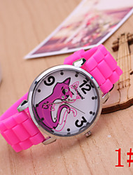 Women's Fashion Watch Small Black Cat Cartoon Jelly Silicone Quartz Watch