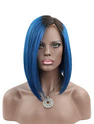 Joywigs Factory Cheap Short Bob Wig Ombre Wig Virgin Brazilian Human Hair Wig 1B/Blue Ombre Lace Front Wigs