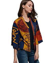 Cape / Capes Aux femmes,Imprimé Décontracté / Quotidien Vintage / Chic de Rue ½ Manches Bleu / Jaune Coton / Polyester Moyen Printemps