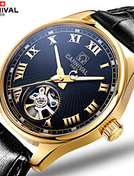 Carnival® New Men's Hollow Flywheel Automatic Mechanical Watch Luminous Waterproof Mens Watch Cool Watch Unique Watch
