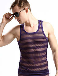 Men's Solid Casual Tank Tops,Polyester Sleeveless-Black / Purple / White