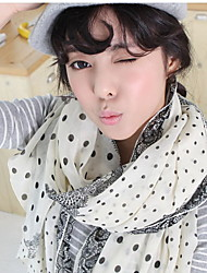 Spring Fashion Double-sided Printed Dot Lace Scarves Cotton Oversized Shawl
