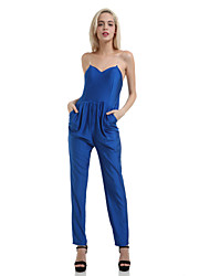 Women's Solid Royal Blue Jumpsuit,Casual Strapless/Sweetheat Sleeveless Gathere