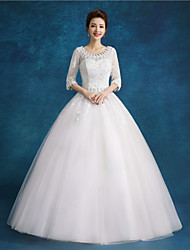Ball Gown Wedding Dress Floor-length Scoop Lace / Satin / Tulle with Beading / Sequin