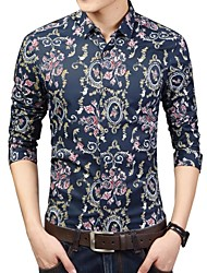 Men's Fashion Designer Personalized Print Casual Slim Fit Long Sleeved Shirt
