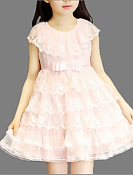 Girl's Pink / Yellow Dress,Lace Polyester Summer