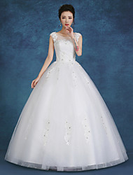 Ball Gown Wedding Dress Floor-length Jewel Lace / Satin / Tulle with Beading / Pearl / Sequin