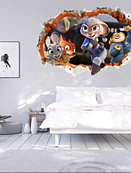3031Crazy Animals Sticker Paste Smile Furniture Decorative Wall Stickers 3D Personality Thermal Grease Home Decor