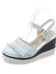 Women's Shoes Leatherette Wedge Heel Wedges Heels Casual Black / Green / Pink / White