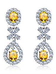 Copper Drop Earrings New Design Yellow Zircon Earrings Rhodium Plated Women Crystal Jewelry