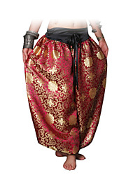 Belly Dance Bottoms Women's Performance Cotton Pattern/Print 1 Piece Gold / Burgundy