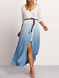 Women's Holiday Simple / Street chic Swing Dress,Color Block V Neck Maxi ¾ Sleeve White Polyester All Seasons