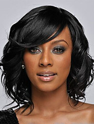Stylish Casual Short length Wavy Hair Wig Black curly wigs
