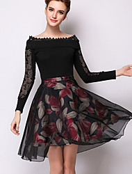 Women's Floral Beige / Black Skirts,Casual / Day Knee-length