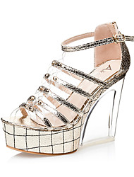 Women's Shoes Leatherette Stiletto Heel Heels Sandals Casual Silver / Gold