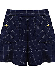 Women's Plaid Blue Shorts Pants,Plus Size