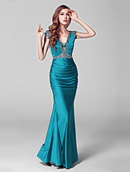 Formal Evening Dress - Sexy Trumpet / Mermaid V-neck Floor-length Charmeuse Sequined with Crystal Detailing Sequins