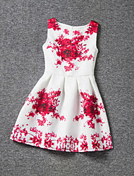 Girl's Purple / Red Dress,Floral Polyester Summer