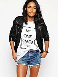 Women's Casual/Daily Cute Summer T-shirt,Print Round Neck Short Sleeve White / Black Cotton Opaque