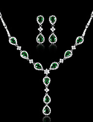 Fashion Platinum Plated Necklace Drop Earring Set South Korea Simple Polishing Elegant Crystal Jeweley Set