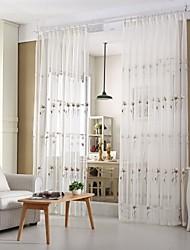 Deux Panneaux Rustique / Moderne / Européen Vin Blanc Salle de séjour Mélange Poly/Coton Sheer Rideaux Shades