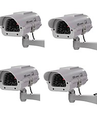 Outdoor / Indoor Solar Powered CCTV Dummy Security Camera Fake Cam with Flash LED, Dummy IP Camera Outdoor 4pcs