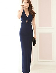 Women's Sexy Solid Backless Bodycon Halter Maxi  Dress