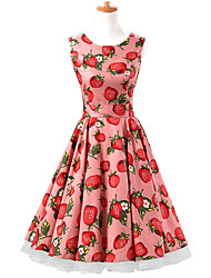 50s Era Vintage Style Sleeveless Rockabilly Dress Audrey Hepburn Cosplay Costume Pink Strawberries (with Petticoat)