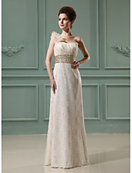 Floor-length Lace Bridesmaid Dress - Sheath / Column One Shoulder with Beading / Flower(s) / Sequins