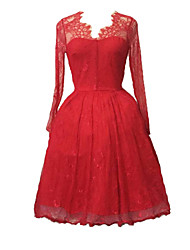 Damen Kleid-Swing Retro Solide Midi Nylon V-Ausschnitt