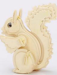 Quebra-cabeças Quebra-Cabeças 3D / Quebra-Cabeças de Madeira Blocos de construção DIY Brinquedos Esquilo Madeira BegeModelo e Blocos de