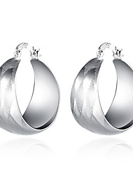 lureme®Fashion Style 925 Sterling Sliver Geometry Shaped Hoop Earrings